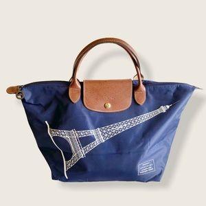 Longchamp Paris Le Pilage Navy Blue Tote Ltd Ed.